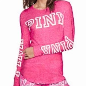 vs pink cozy sleep long sleeve tee lg party pink